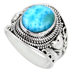 5.18cts natural blue larimar 925 silver solitaire ring jewelry size 8 r53645