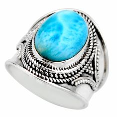 6.32cts natural blue larimar 925 silver solitaire ring jewelry size 8 r53648