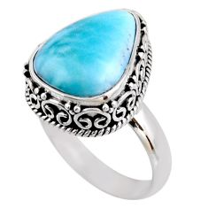 7.22cts natural blue larimar 925 silver solitaire ring jewelry size 8 r53763