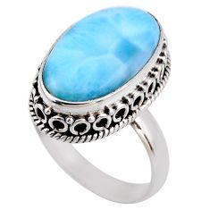 7.83cts natural blue larimar 925 silver solitaire ring jewelry size 8 r53767