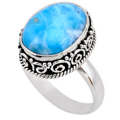 7.35cts natural blue larimar 925 silver solitaire ring jewelry size 8 r53769