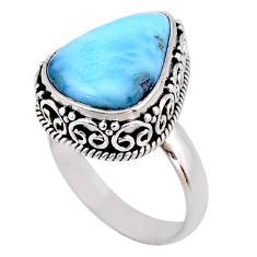 8.20cts natural blue larimar 925 silver solitaire ring jewelry size 8 r53777