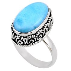 9.95cts natural blue larimar 925 silver solitaire ring jewelry size 8 r53779