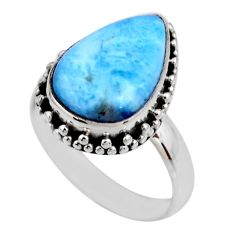7.04cts natural blue larimar 925 silver solitaire ring jewelry size 8 r53790