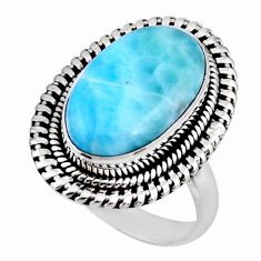 8.14cts natural blue larimar 925 silver solitaire ring jewelry size 8 r53803