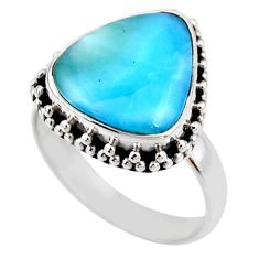 7.33cts natural blue larimar 925 silver solitaire ring jewelry size 8 r53814