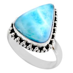 9.05cts natural blue larimar 925 silver solitaire ring jewelry size 8 r53818