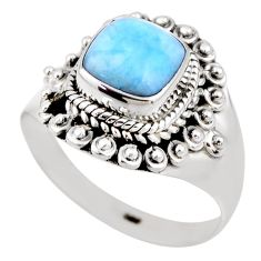 2.56cts natural blue larimar 925 silver solitaire ring jewelry size 8 r53822