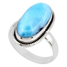 7.54cts natural blue larimar 925 silver solitaire ring jewelry size 8 r53825