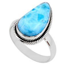 7.50cts natural blue larimar 925 silver solitaire ring jewelry size 8 r53830
