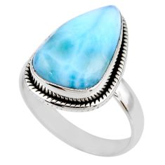 6.70cts natural blue larimar 925 silver solitaire ring jewelry size 8 r53833
