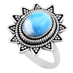 4.40cts natural blue larimar 925 silver solitaire ring jewelry size 8 r54306