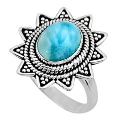 4.21cts natural blue larimar 925 silver solitaire ring jewelry size 8 r54321