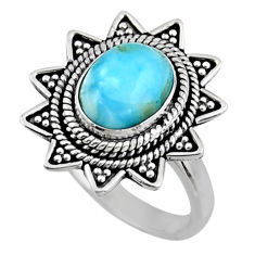 4.38cts natural blue larimar 925 silver solitaire ring jewelry size 8 r54322