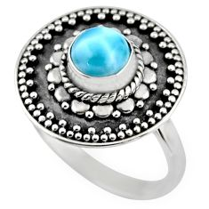 1.16cts natural blue larimar 925 silver solitaire ring jewelry size 8 r54368
