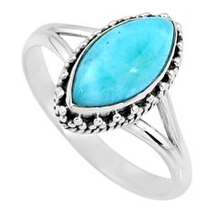 2.61cts natural blue larimar 925 silver solitaire ring jewelry size 8 r57472