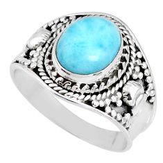 4.28cts natural blue larimar 925 silver solitaire ring jewelry size 8 r58270