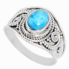 2.17cts natural blue larimar 925 silver solitaire ring jewelry size 8 r69051