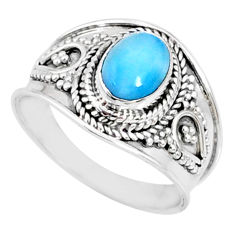2.10cts natural blue larimar 925 silver solitaire ring jewelry size 8 r69077