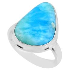 13.16cts natural blue larimar 925 silver solitaire ring jewelry size 8 r72592