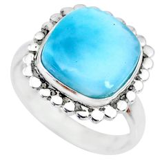7.12cts natural blue larimar 925 silver solitaire handmade ring size 8 r74565