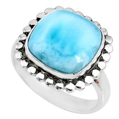 7.32cts natural blue larimar 925 silver solitaire handmade ring size 8 r74573