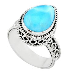 6.53cts natural blue larimar 925 silver solitaire ring jewelry size 8 r83772