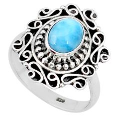 2.02cts natural blue larimar 925 silver solitaire handmade ring size 8 t15901