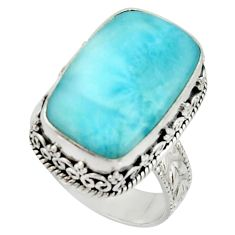 12.83cts natural blue larimar 925 silver solitaire ring jewelry size 9 r22706