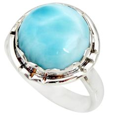 11.66cts natural blue larimar 925 silver solitaire ring jewelry size 9 r26213