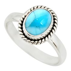 3.50cts natural blue larimar 925 silver solitaire ring jewelry size 9 r26378