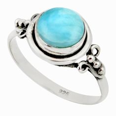 3.06cts natural blue larimar 925 silver solitaire ring jewelry size 9 r41361