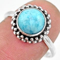 2.93cts natural blue larimar 925 silver solitaire ring jewelry size 9 r41394