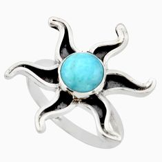 3.46cts natural blue larimar 925 silver solitaire ring jewelry size 9 r41462