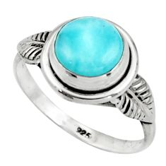 3.05cts natural blue larimar 925 silver solitaire ring jewelry size 9 r41501