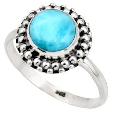 3.05cts natural blue larimar 925 silver solitaire ring jewelry size 9 r41561