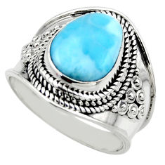 5.43cts natural blue larimar 925 silver solitaire ring jewelry size 9 r52183