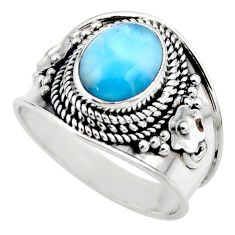 4.55cts natural blue larimar 925 silver solitaire ring jewelry size 9 r52190