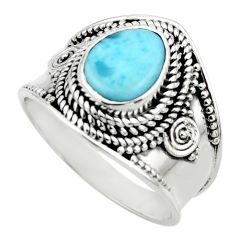 4.21cts natural blue larimar 925 silver solitaire ring jewelry size 9 r52214
