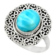 4.92cts natural blue larimar 925 silver solitaire ring jewelry size 9 r52422