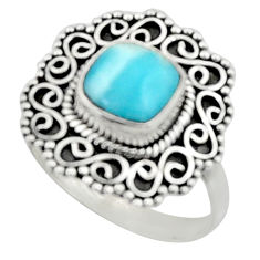 3.28cts natural blue larimar 925 silver solitaire ring jewelry size 9 r52438