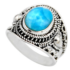 5.01cts natural blue larimar 925 silver solitaire ring jewelry size 9 r53650