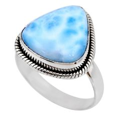 8.03cts natural blue larimar 925 silver solitaire ring jewelry size 9 r53831