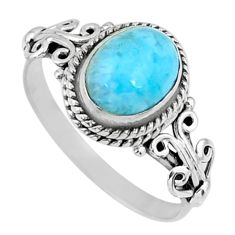 3.30cts natural blue larimar 925 silver solitaire ring jewelry size 9 r57473