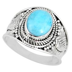 4.06cts natural blue larimar 925 silver solitaire ring jewelry size 9 r58261