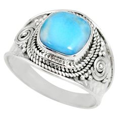 4.69cts natural blue larimar 925 silver solitaire ring jewelry size 9 r58279