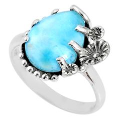 6.27cts natural blue larimar 925 silver solitaire ring jewelry size 9 r67363