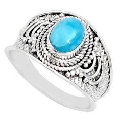 2.13cts natural blue larimar 925 silver solitaire ring jewelry size 9 r69046