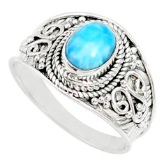2.10cts natural blue larimar 925 silver solitaire ring jewelry size 9 r69053