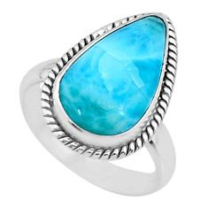 10.55cts natural blue larimar 925 silver solitaire ring jewelry size 9 r72614
